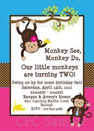 Twins Monkey Birthday Invitation Twins Siblings Monkey Birthday