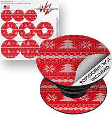 Amazon Com Decal Style Vinyl Skin Wrap 3 Pack For Popsockets Ugly Holiday Christmas Sweater Christmas Trees Red 01 Popsocket Not Included By Wraptorskinz Everything Else