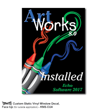 Kwik Stik Custom Full Color Static Cling Window Decals One Side Imprint Finn Line