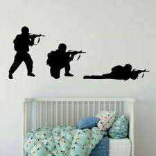 Cool Military Army Soldier Wall Sticker Guns Wall Decal War Industry Boy Bedroom Ebay