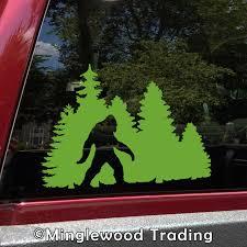 Bigfoot In Treeline V1 Vinyl Decal Pine Trees Forest Pnw Sasquatch Die Cut Sticker