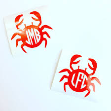 Crab Monogram Vinyl Decal Sticker Beach Monogrammed Car Etsy