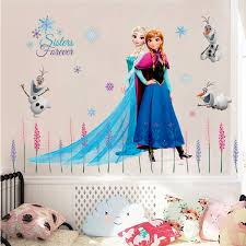 Cartoon Frozen Elsa Anna Princess Effect Wall Stickers For Girls Room Home Decoration Mural Art Posters Kids Wall Decals Gift Kids Room Decor Kids Room Decor Wall Decor