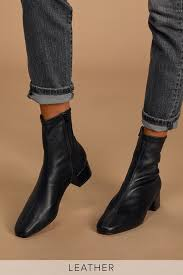 black mid calf boots leather sock