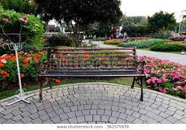park bench flower garden parks
