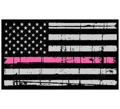 Tattered Usa Flag Pink Line Window Decal