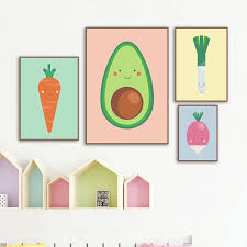 Vegetable Carrot Green Onion Avocado Wall Art Canvas Painting Nordic Posters And Prints Wall Pictures Kids Room Kitchen Decor Painting Calligraphy Aliexpress