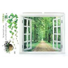 Shop Home 3d Window Scenery Pattern Art Decal Wall Sticker Mural Decoration Green White Purple Overstock 28886835