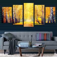 5 قطعة المجموعة لوحة مناظر طبيعية تقع في الغابات لوحة فنية جدارية