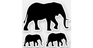 African Elephant Silhouettes Vinyl Sticker Set Zazzle Com