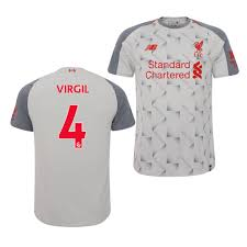 Liverpool Virgil van Dijk Light Grey Jersey