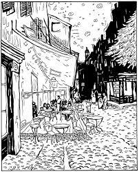 Van Gogh Le Cafe De Nuit Masterpieces Coloring Pages For Adults