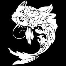 Amazon Com Tribal Chinese Koi Fish Decal Sticker White Decal Sticker Vinyl Car Home Truck Window Laptop Computers Accessories