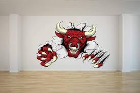 Amazon Com Frankies Cajun Customs Red Bull Mascot Vinyl Decal Wall Car Laptop 24 Inch Home Kitchen