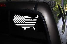 Amazon Com Classy Vinyl Creations Usa Flag Decals Patriotic Decal Usa Flag Sticker Decal Car Truck Automotive Window Decal Black Or White Decal Bumper Sticker 4 2 H X 6 8 W Automotive