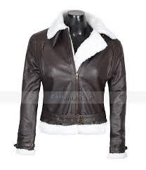 aviator jacket womens brown shearling