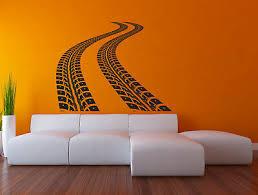 Tire Tracks Wall Decal Road Race Car Vinyl Sticker Art Rv36 Ebay