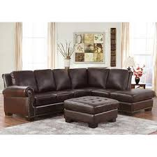 top grain leather sectional and ottoman