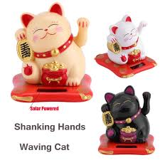 Solar Powered Shaking Hands Lucky Cat Maneki Neko Beckoning Fortune Waving Cat Car Decor Dash Board Crafts Wish