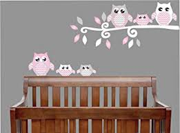 Amazon Com Pink Owl Wall Decals Stickers Owl Children S Nursery Wall Decor Grey And Pink Owl Wall Decals Baby