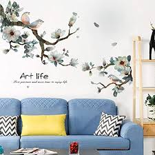 Amazon Com Llydd Pink Leaf And Bird Wall Sticker Tree Leaves Plant Natual Wall Stickers Decal Art Decor Room Decoration Peel And Stick Self Adhesive For Garden Living Room Bedroom Kitchen Playroom