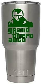 Amazon Com Grand Theft Auto Decals For Yeti Cups Tumbler Not Included Sticker For Tumbler Decals For Tumblers Cup Decals Mug Decals Car Sticker Auto Decals Monogram Green Automotive
