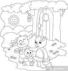 Fotobehang 3 Leuke Beren Kleurplaat Illustratie Voor Kleine