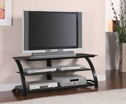Small Tv Stand With Shelves Media Storage Table For Flat Screen Bedroom Black