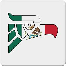 Amazon Com Tooloud Hecho En Mexico Eagle Symbol Mexican Flag 4x4 Square Sticker 4 Pack Home Kitchen