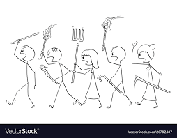 Cartoon angry mob stick characters walking Vector Image
