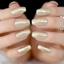 Amazon Com Champagne Coffin Ballerina Fake False Nails Tips Full