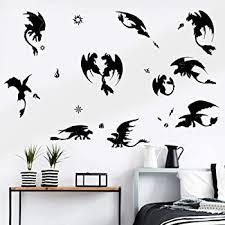 Amazon Com Decalmile Black Dragon Wall Stickers Halloween Wall Decals Boys Room Baby Nursery Wall Decor Home Kitchen