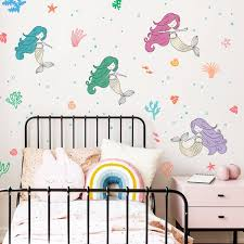 Mermaid Wall Decal Hand Drawn Mermaids Coral Decals Under Etsy