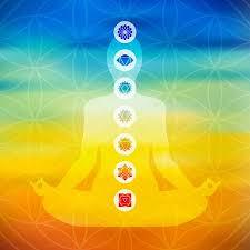 Körper-Silhouette Yoga Lotus-Pose Zu Tun Mit Chakra-Symbole Auf ...