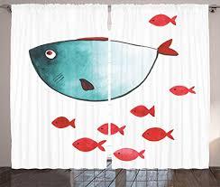 Amazon Com Ambesonne Nursery Curtains Fish With Little Underwater Aquatic Life Kids Girls Boys Nursery Theme Living Room Bedroom Window Drapes 2 Panel Set 108 X 84 Vermilion Teal Home Kitchen