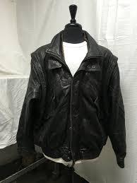 mens leather er jacket 1x l brown