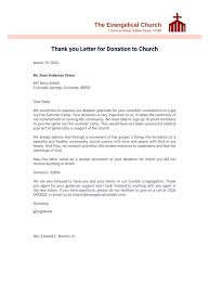 thank you letter for donation to church