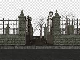 Graveyard Grey Gate Illustration Transparent Background Png Clipart Hiclipart