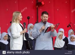 Eid celebrations in Trafalgar Square. Myriam Francois and Abdullah ...