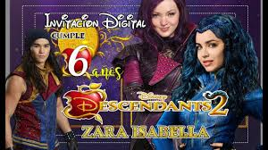Invitacion Digital Descendientes 2 Cumpleanos Descendants Youtube