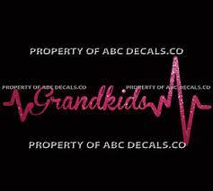 Heart Beat Line Word Grandkids Grandma Granny Grandpa Car Decal Metal Sticker Ebay