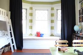 Curtain For Big Window Ideas Ideas For Curtains On A Bay Window Shared Girls Room Kids Room Curtains White Wooden Bunk Beds