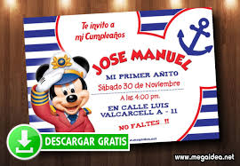 Mickey Mouse Marinero Invitaciones Mega Idea