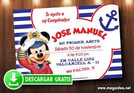 Mickey Mouse Marinero Invitaciones Mega Idea