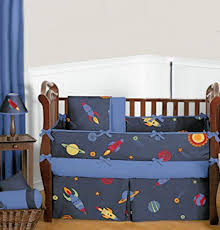 outer space bedding for a baby rocket
