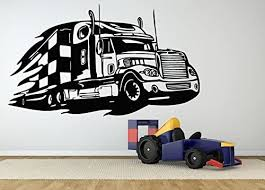 Amazon Com Wall Room Decor Art Vinyl Decal Sticker Semi Truck 18 Wheeler Large Big As496 Home Kitchen