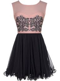 Babydoll Decal Dress Pink Black Sequin Skater Dresses Ricketyrack Com