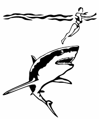 Great White Shark Chasing Swimmer Vinyl Decal Sticker Window Wall Bumper Jaws For Sale Online