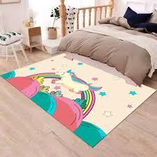 Running Unicorn Rainbow Star Floor Area Rug Bedroom Carpet Living Child Room Mat Ebay