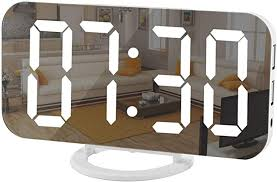 Amazon Com Digital Clock Large Display Led Electric Alarm Clock Mirror Surface For Makeup With Diming Mode 3 Levels Brightness Dual Usb Ports Modern Decoration For Home Bedroom Decor White Home Kitchen